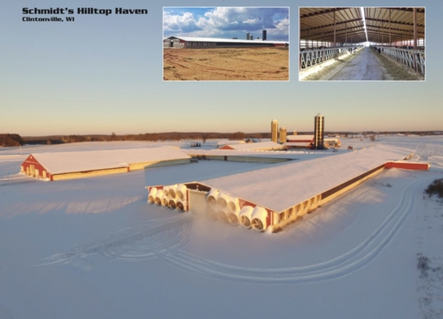 Agricultural Construction:  Freestall Barn:  Schmidt's Hilltop Haven, Clintonville, WI
