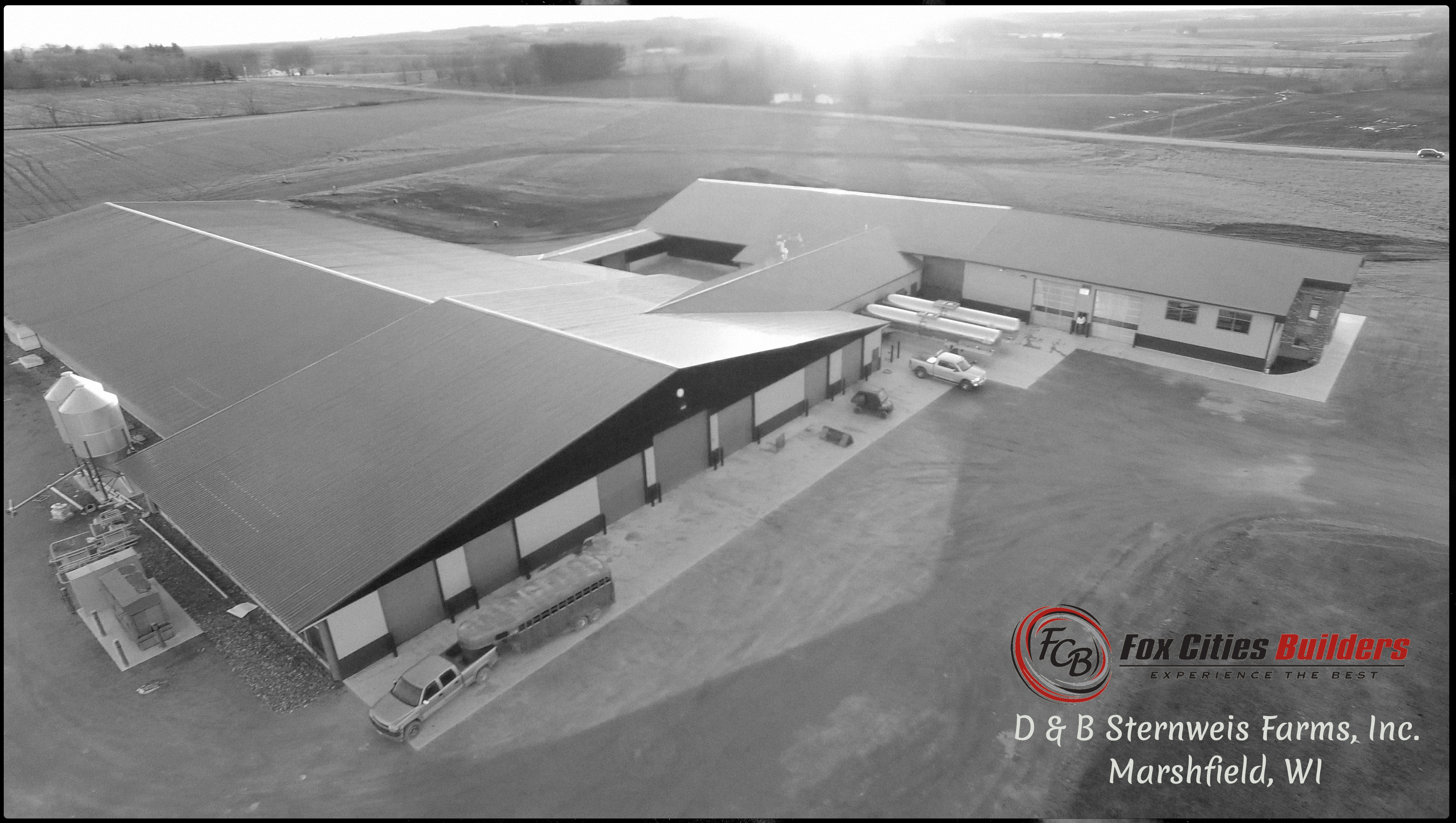Agricultural Construction: Rotary Milking Parlor & Freestall Barn:  D&B Sternweis Farms, Inc., Marshfield, WI